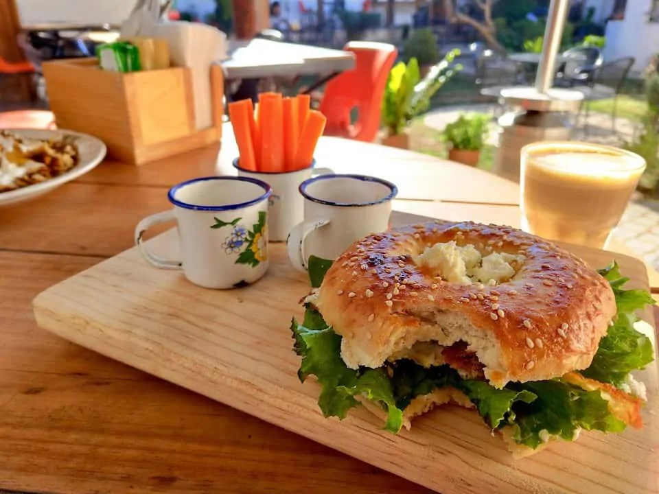Delicious bagel sandwich and coffee from Frontera Artisan Food and Coffee, one of the best restaurants in San Cristobal de las Casas