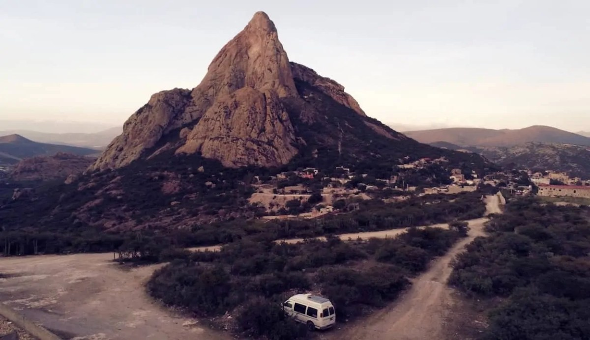 The campsite beside the impressive monolith of Bernal. Definitely one of the best free campsites in Mexico.
