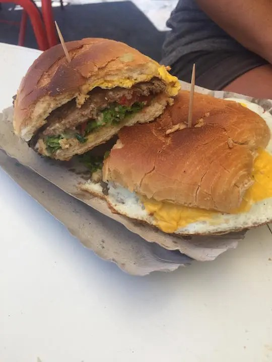 Argentina's delicious lomito of thinly sliced steak, fried egg, tomatoes and lettuce.