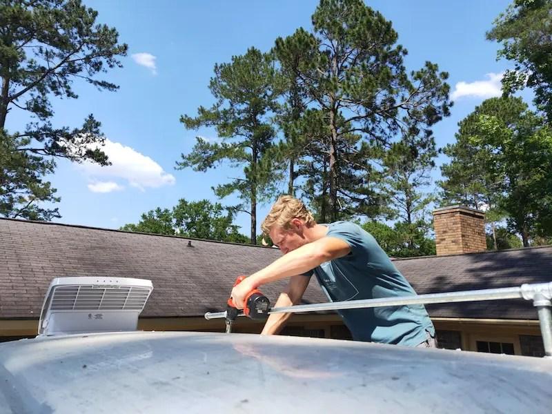Attaching our DIY van roof rack