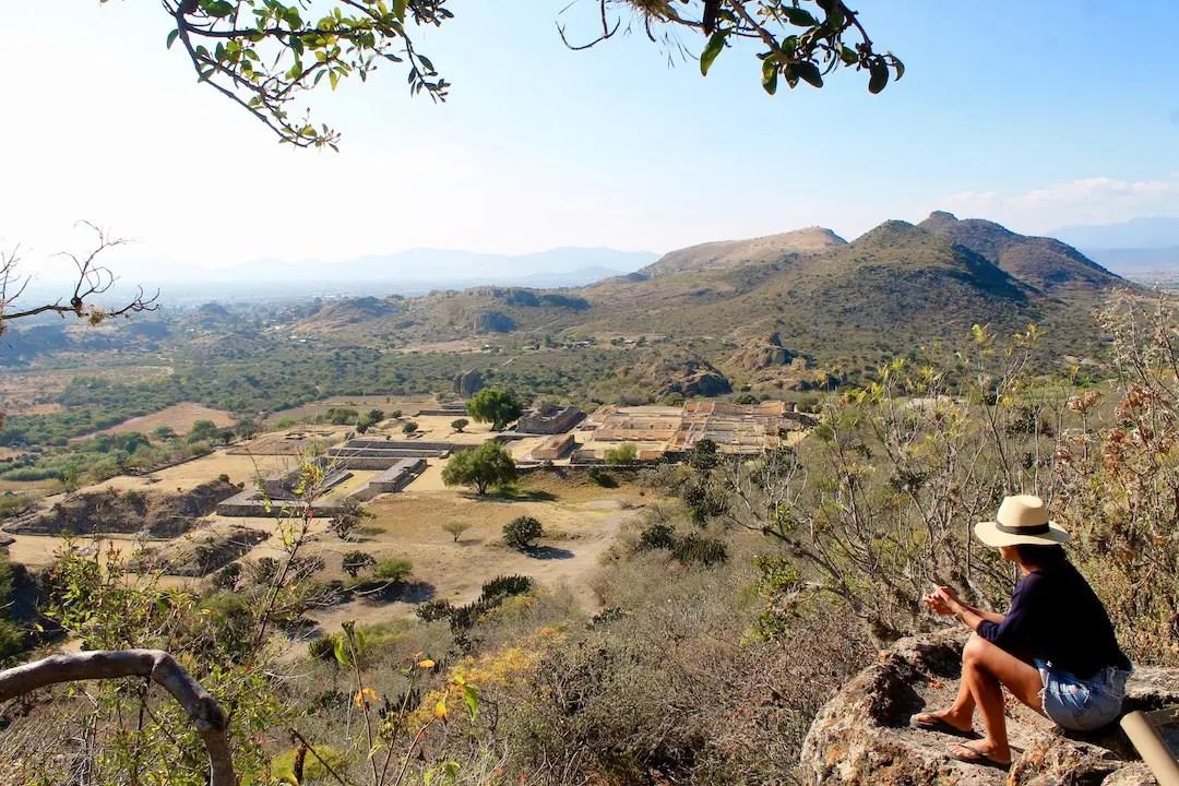 A girl overlooking the Yagul ruins in Oaxaca