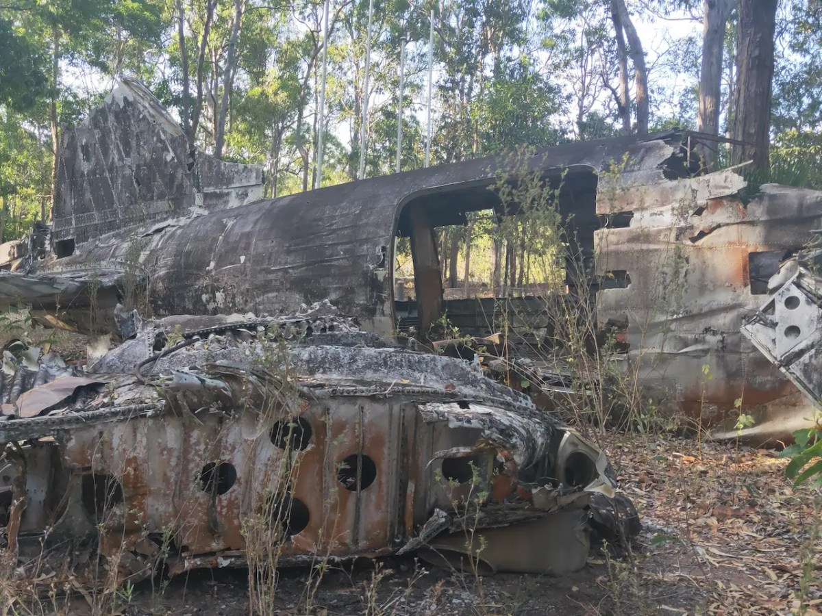 Visiting the war relics in Cape York such as this crashed airplane is one of the best things to do in Cape York.