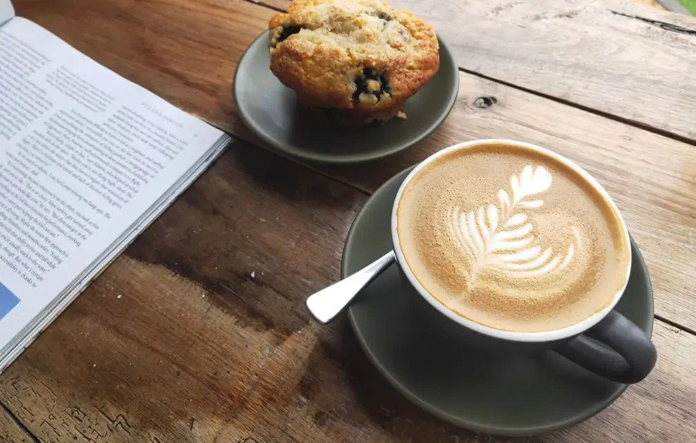 A cup of coffee and a Muffin from Swim Coffee in Scamander