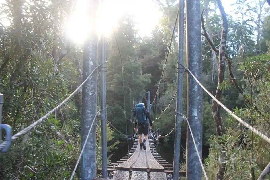 Suspension bridge on the Frenchmans Cap Hike