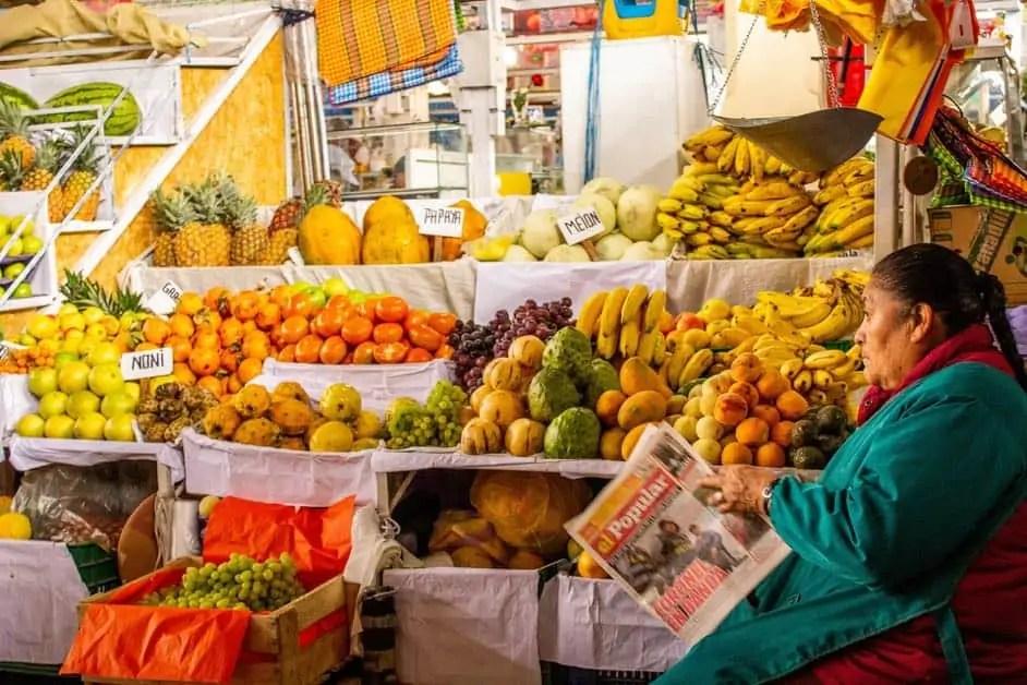 Fruit stall market in Peru