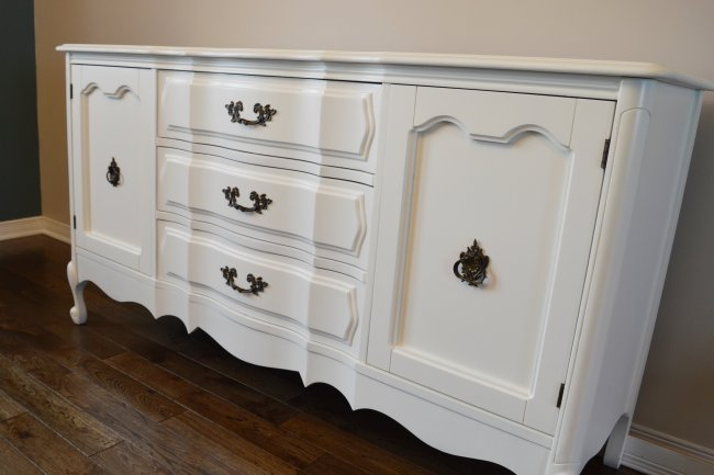 Spray painted french provincial buffet makeover