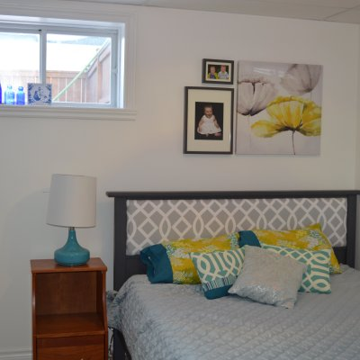White Spare Room with Turquoise and Yellow Acccents