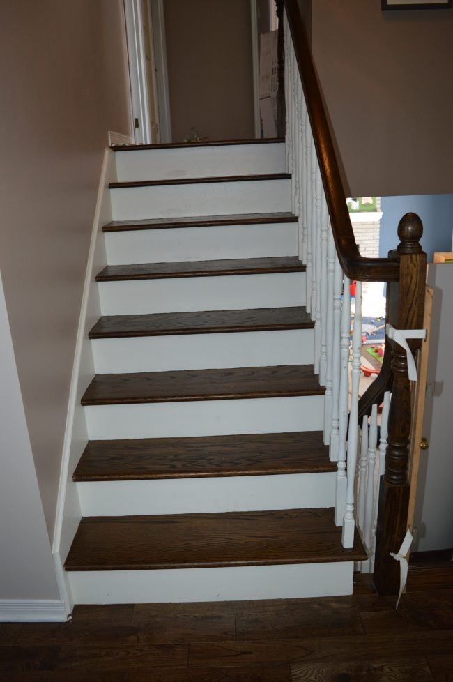 Refinished hardwood stairs