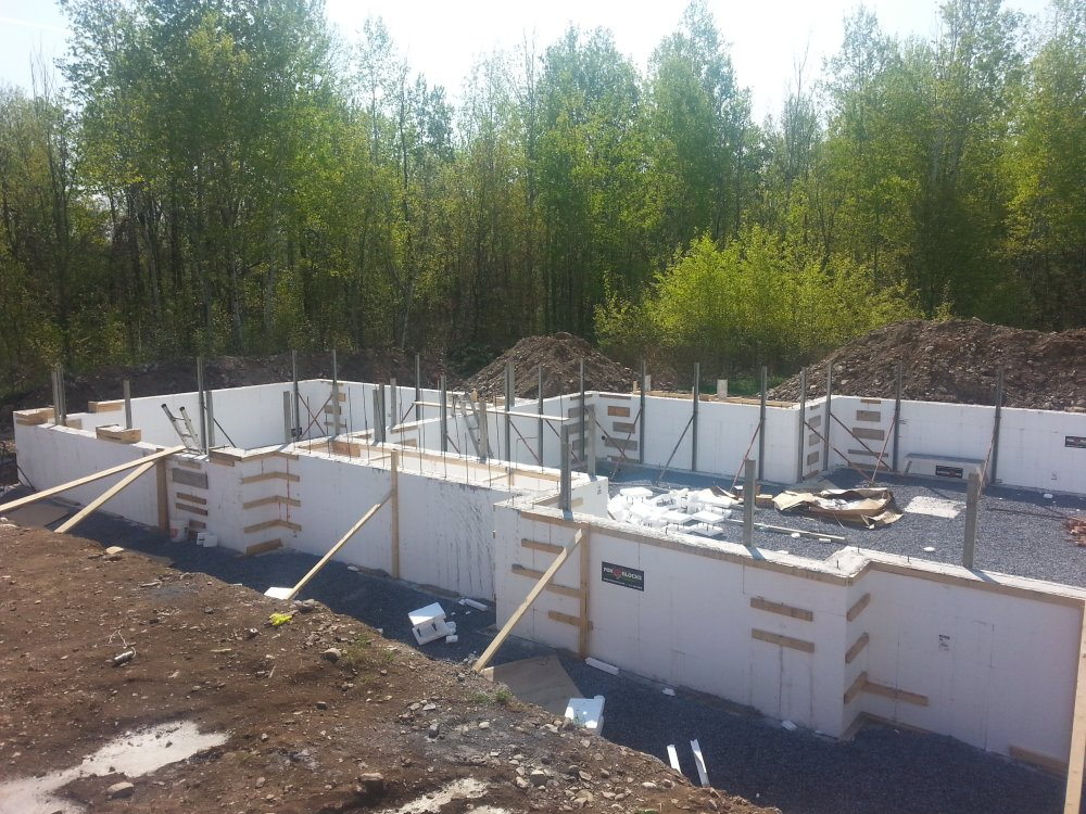 Pouring concrete in ICF foundation