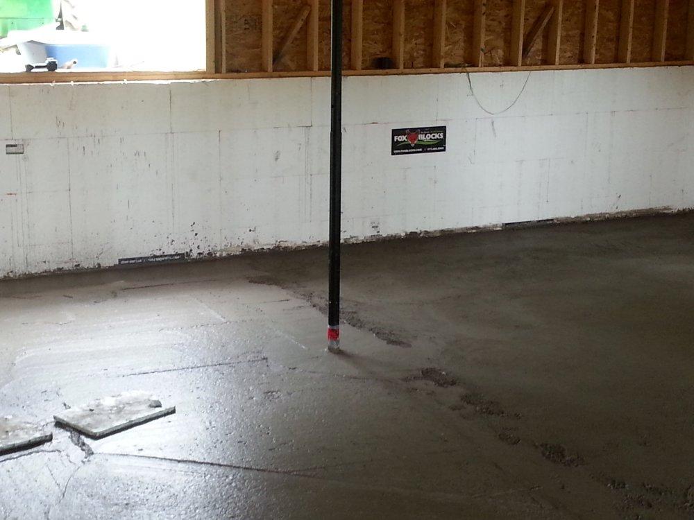basement concrete with in-floor heating