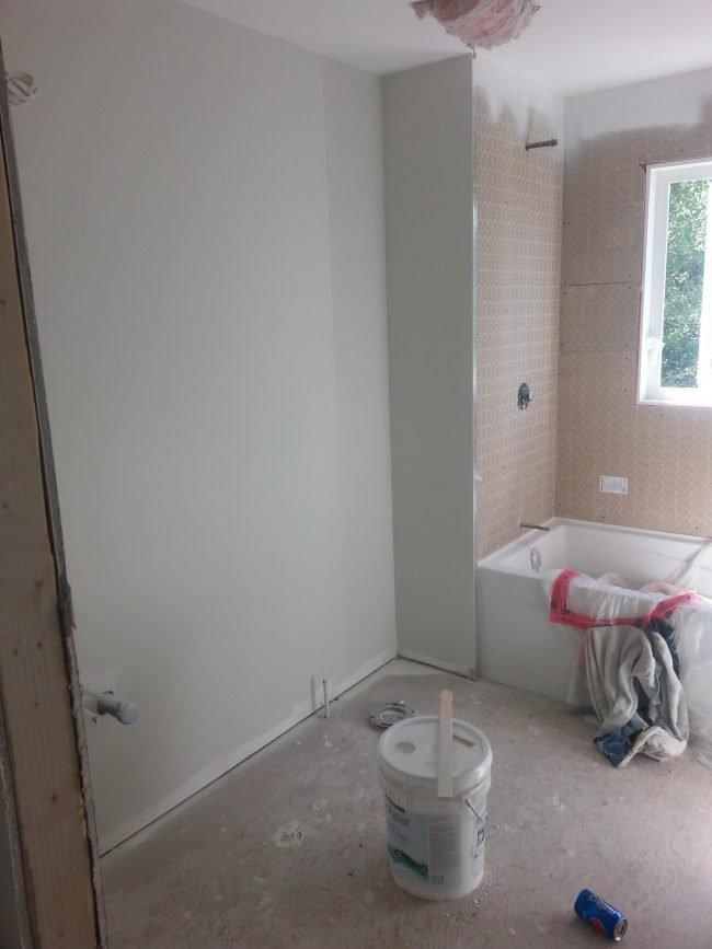 new drywall in a bathroom