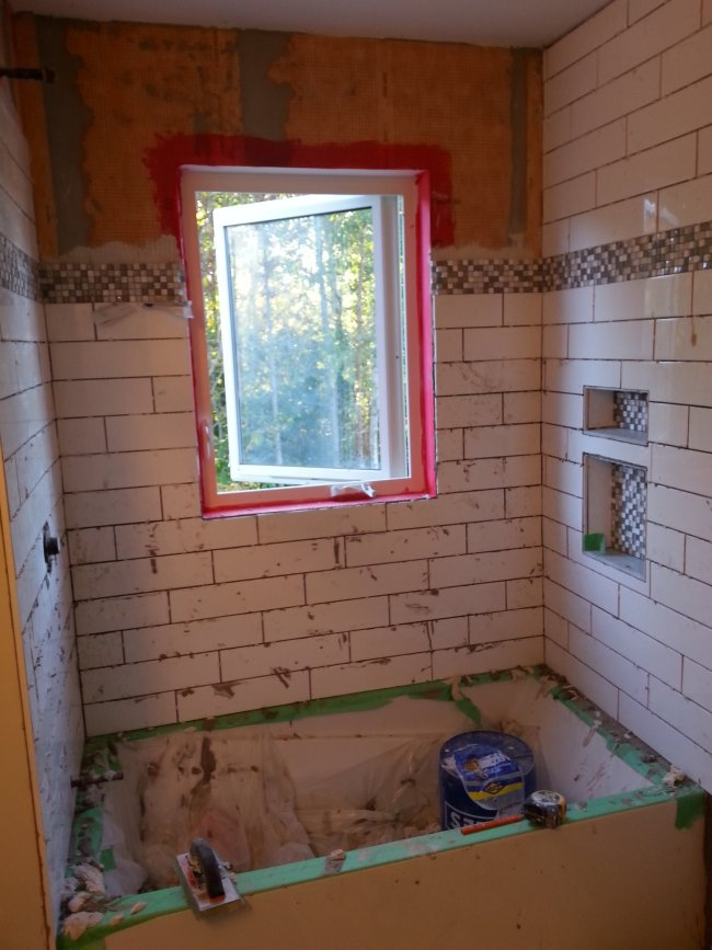 Oversized white subway tile