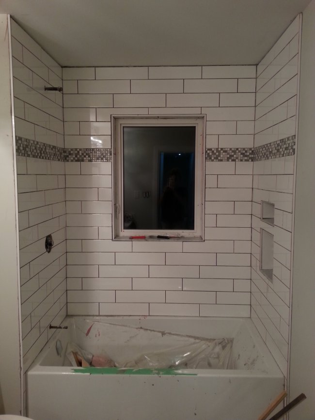 DIY subway tiled shower