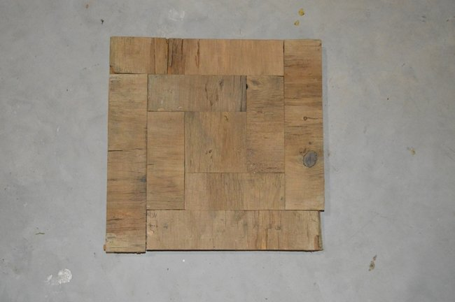 Square face barnboard clock