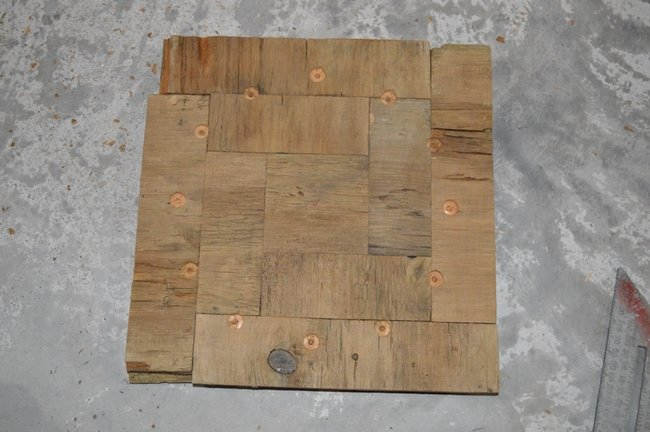 Square face barnboard clock with inlay numbers