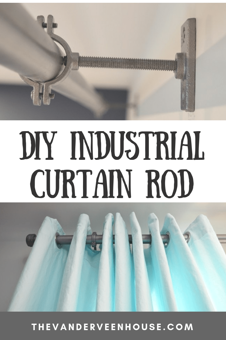 """Curtain rail//pole with brackets made from 3//4"""" Industrial galvanised iron pipe"""