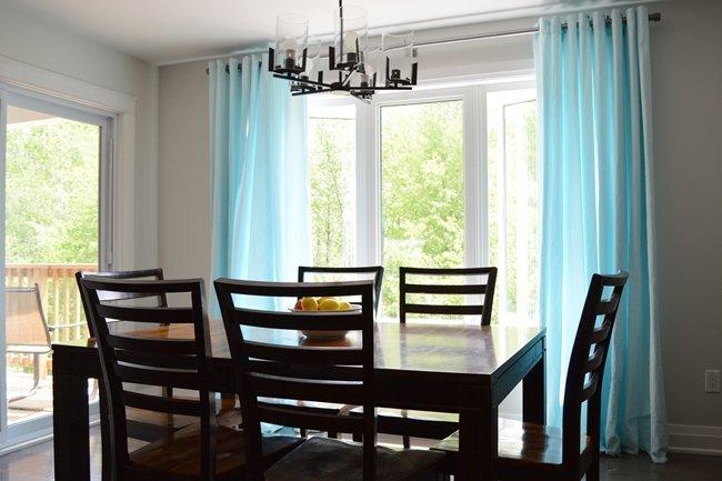 Dyed aqua blue IKEA curtains