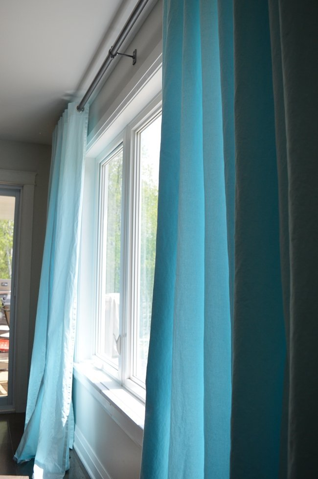 Dyed Aqua Blue IKEA Curtains. IKEA Merete Hack