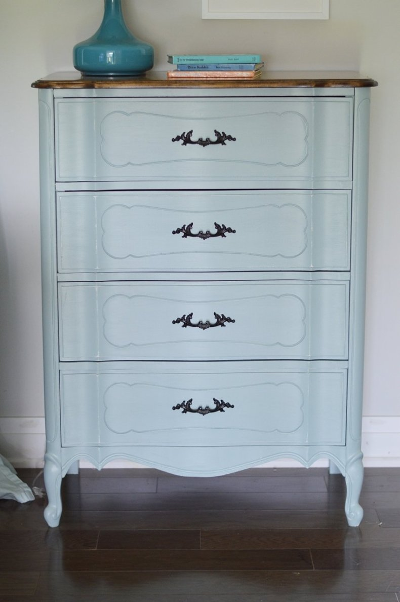 light blue french provincial dresser