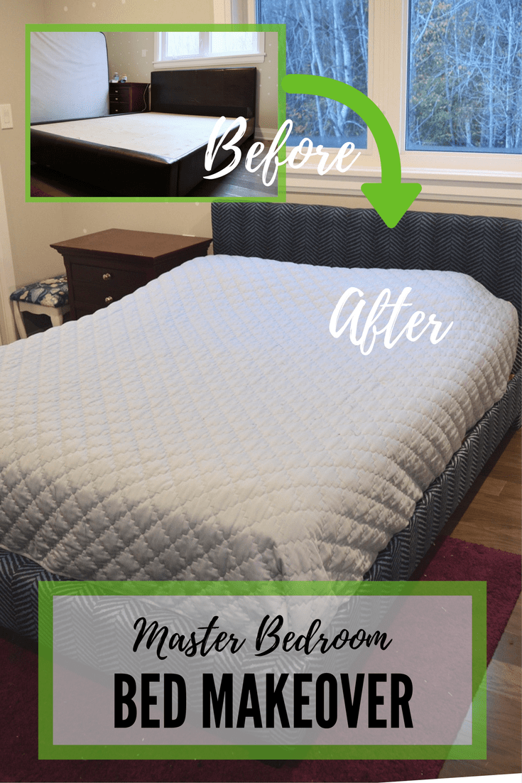 master bedroom bed makeover using navy blue herringbone fabric