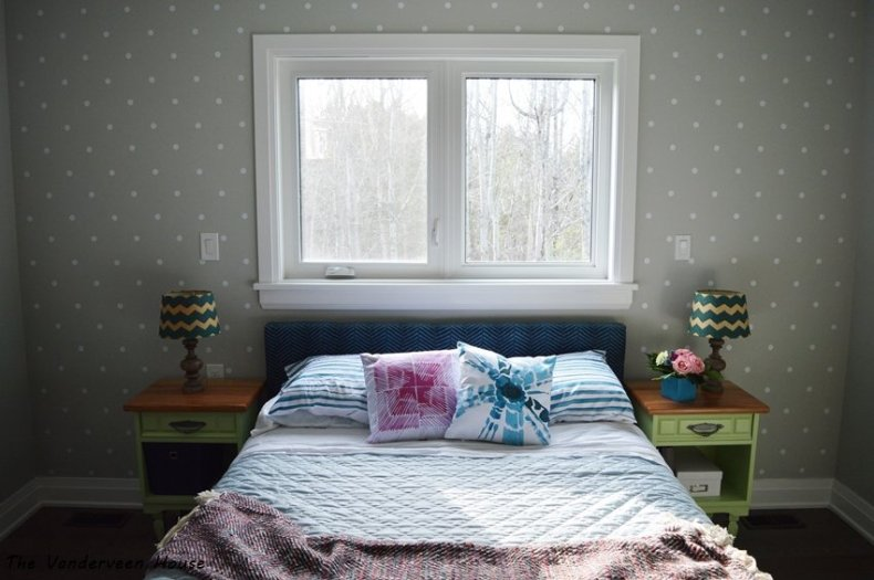 master bedroom polka dot accent wall