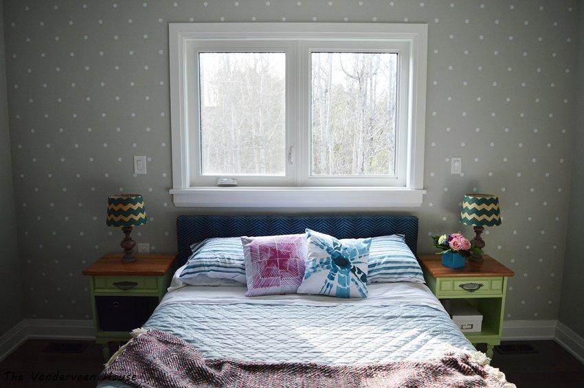 master bedroom polka dot accent wall