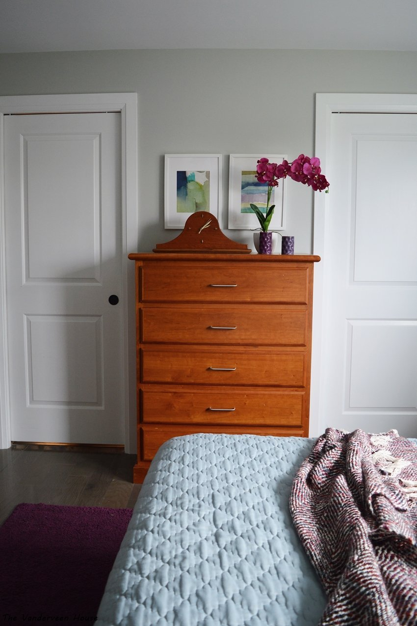 watercolor art prints in a master bedroom makeover