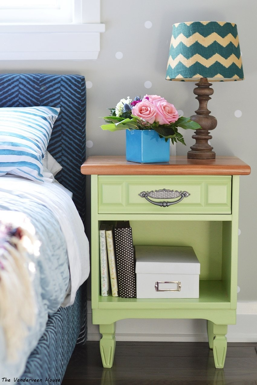 green bedside table makeover general finishes milk paint