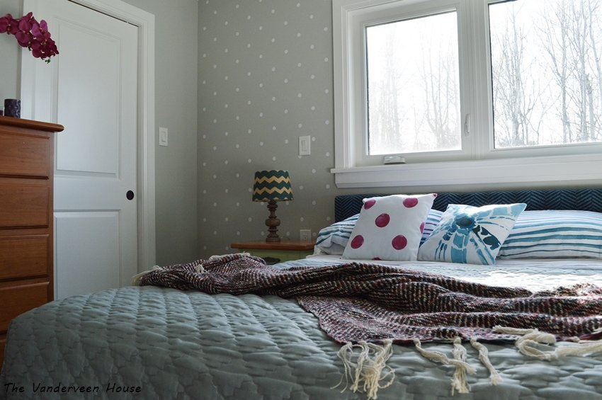 polka dot accent wall
