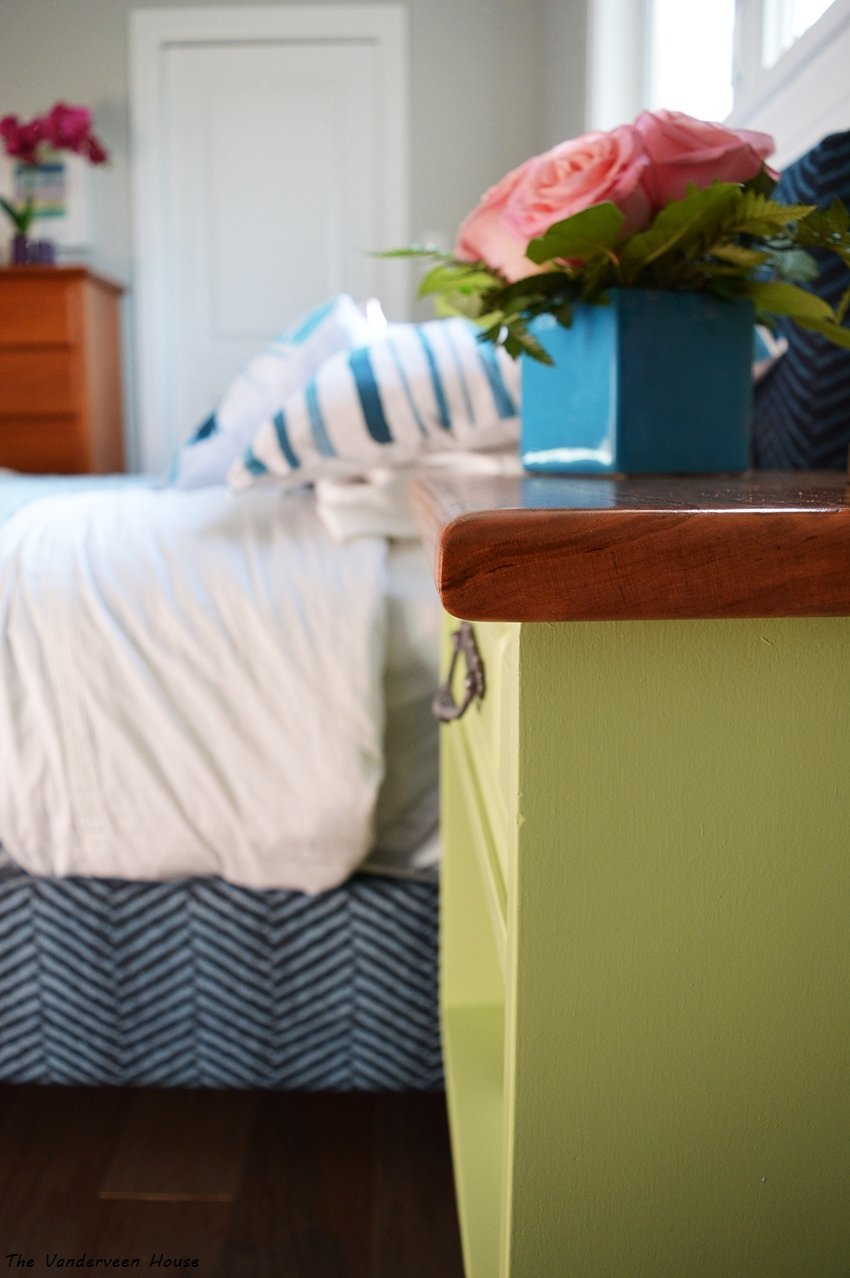 lime green bedside table using general finishes milk paint