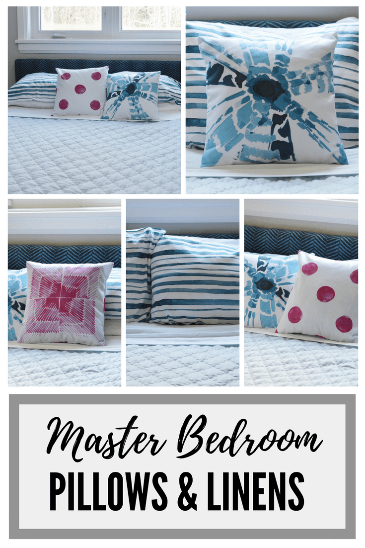 master bedroom linens, throw pillows, pink and blue