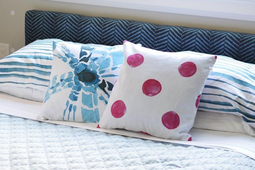 shibori watercolor decorative throw pillows