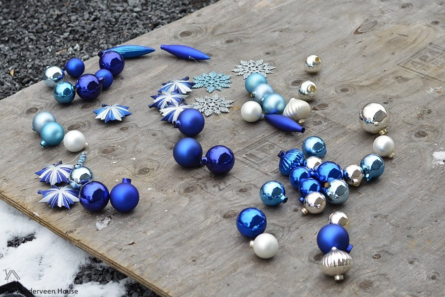 Transform Christmas tree ornaments with spray paint and glitter