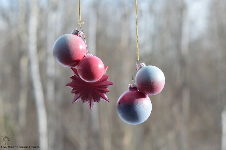 Transform ornaments with spray paint and glitter