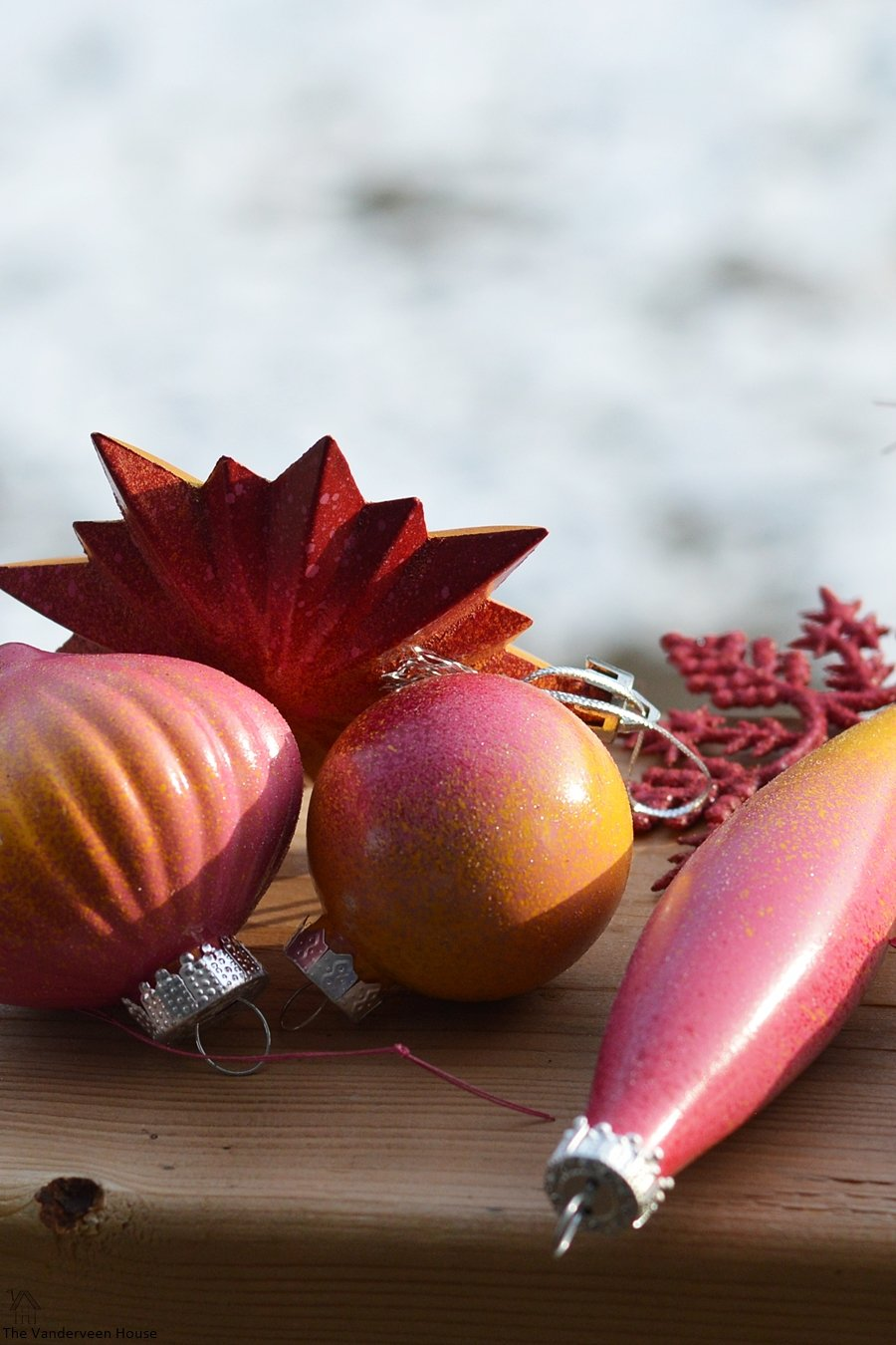 spray painted ornaments