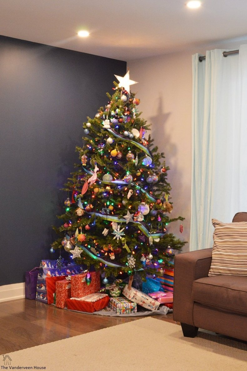 Colorful christmas tree. Christmas home tour 2017 living room
