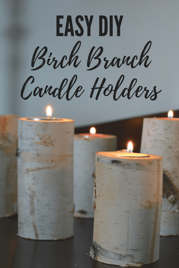 Easy DIY birch branch candle holders. Winter decorating