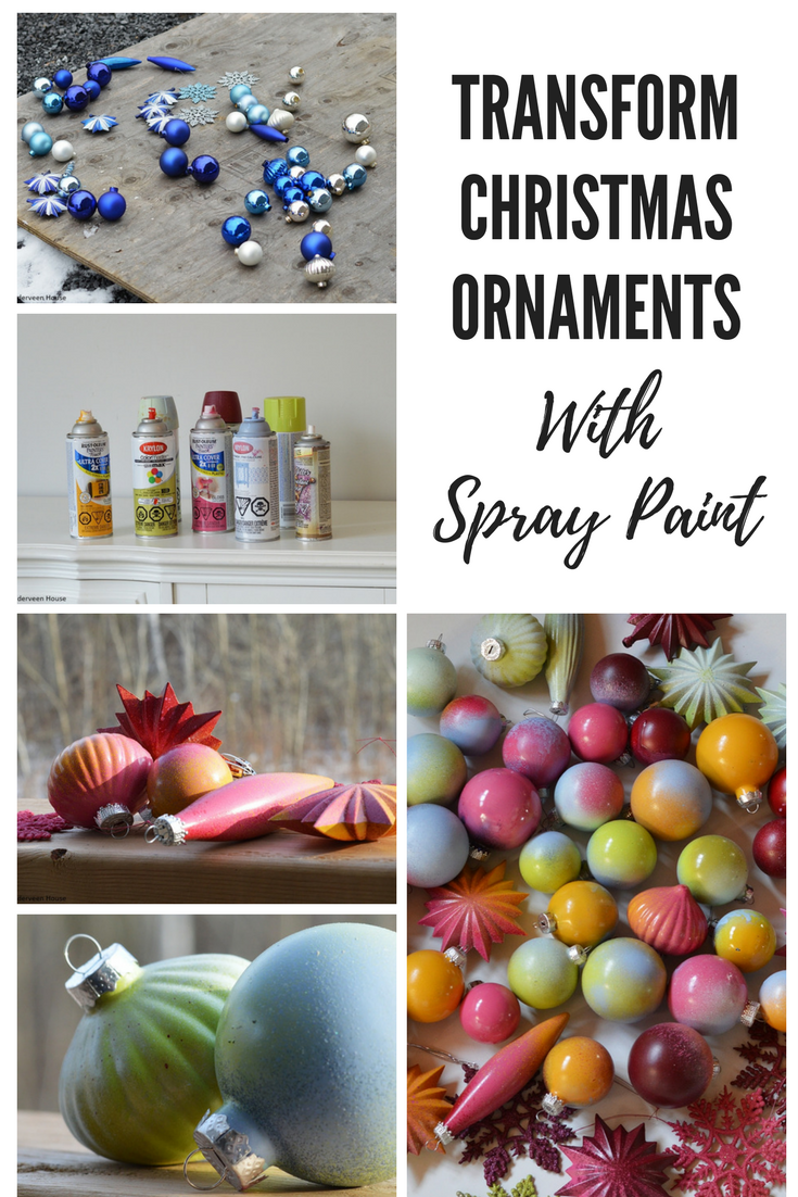 Transform your ornaments using colorful spray paint and glitter. Spray painted Christmas tree ornaments