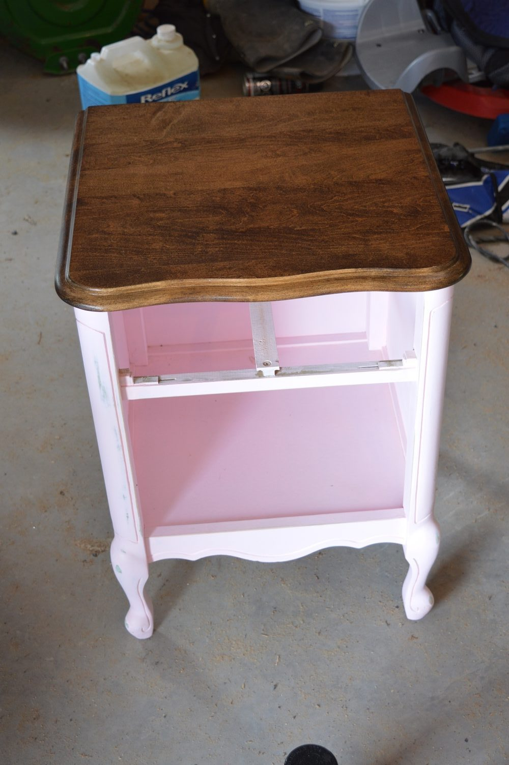 light blue milk paint side table makeover