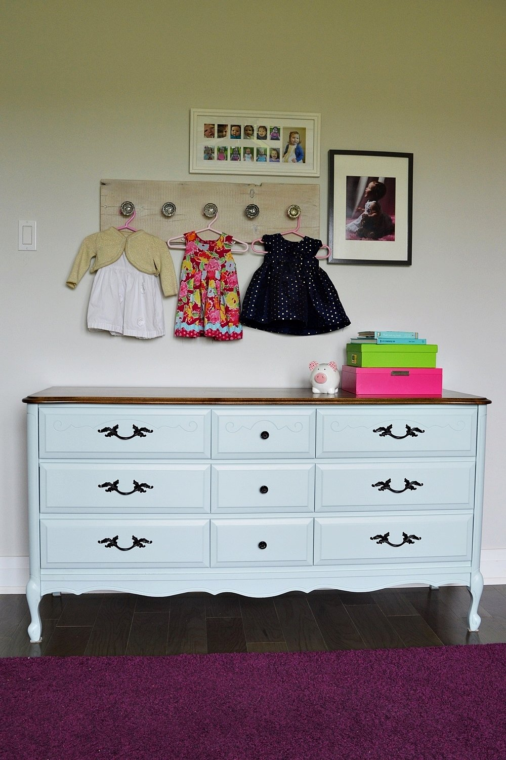 Light blue dresser makeover using general finishes milk paint. Persian blue and snow white milk paint