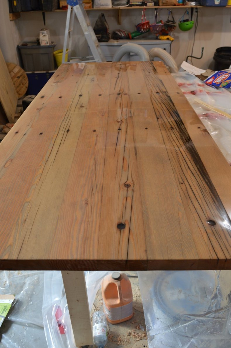 reclaimed wood desk top with epoxy resin
