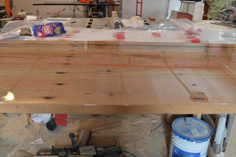 epoxy resin reclaimed fir desk top