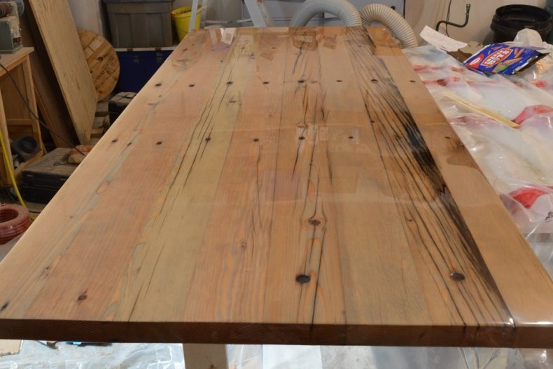 solid wood reclaimed desk top