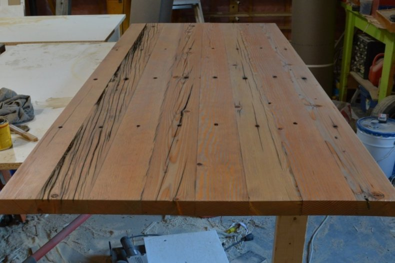 weathered oak stained desk