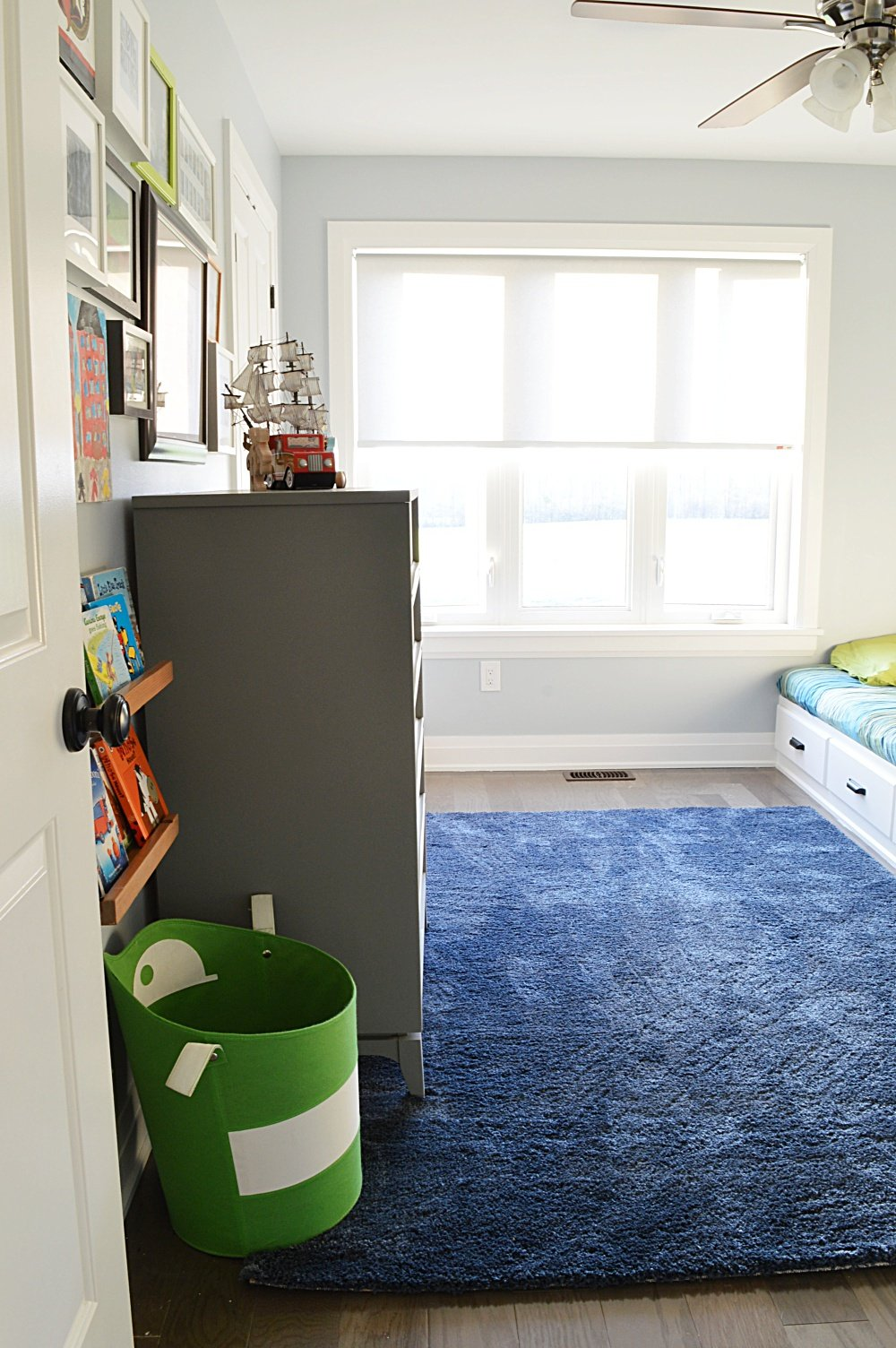 shared boys bedroom makeover one room challenge reveal built in bed with storage