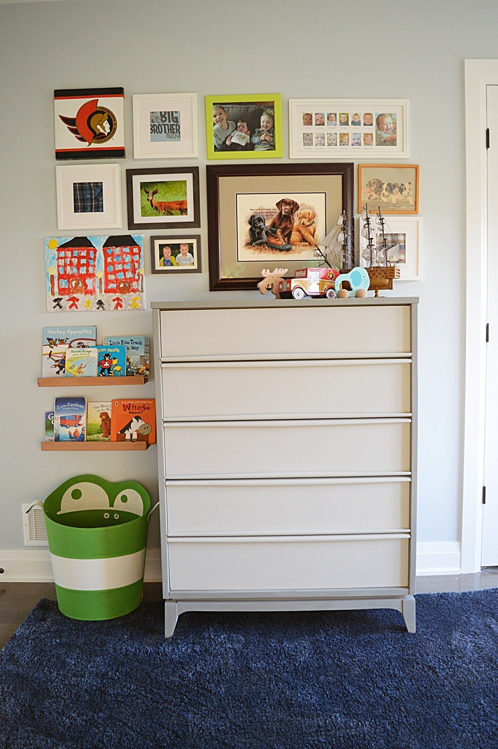 eclectic gallery wall mid century dresser makeover