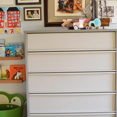 Mid-century tallboy dresser makeover with grey chalk paint