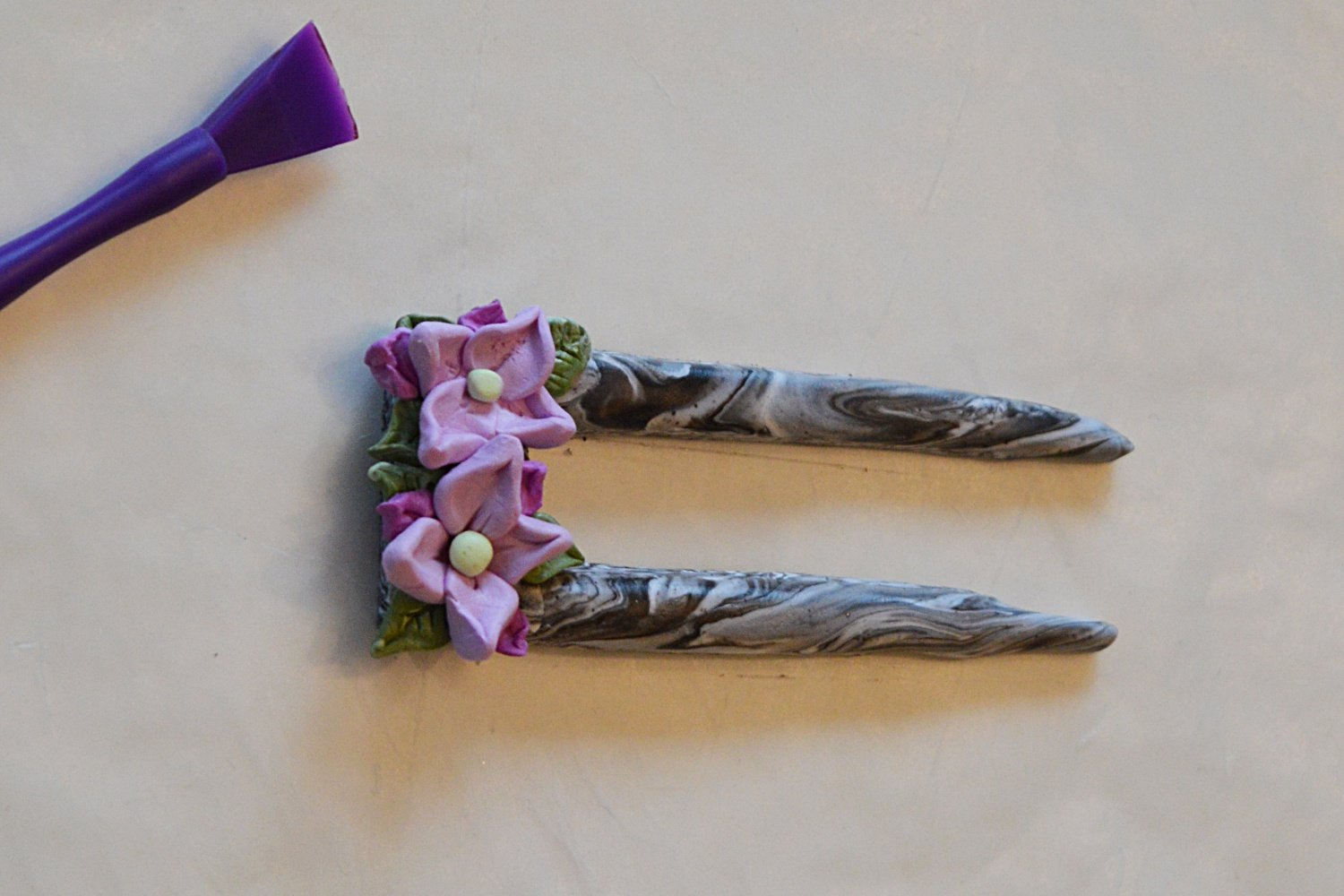 how to make a polymer clay hair stick