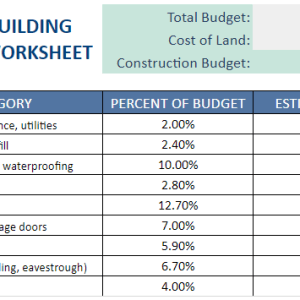 home building budget worksheet
