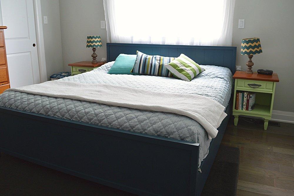 DIY modern farmhouse bed build